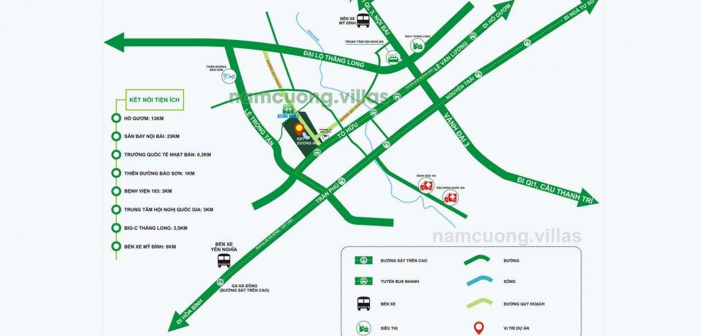 Vị trí khu đô thị mới Dương Nội Nam Cường