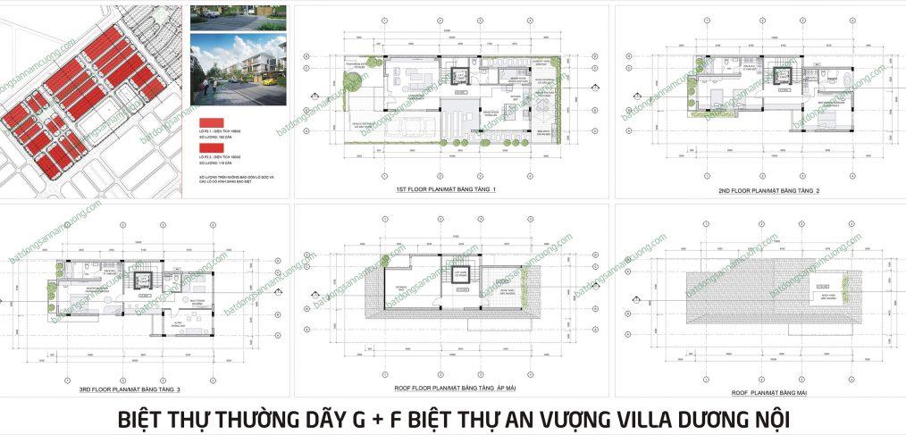 Thiết kế Biệt thự An Vượng Villa dãy G + F lô thường