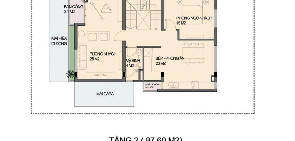 Mặt bằng tầng 2 Biệt thự An Phú Shop Villa Dương Nội