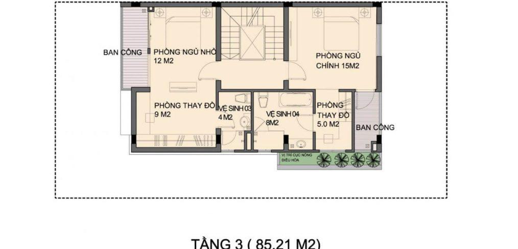 Mặt bằng tầng 3 Biệt thự An Phú Shop Villa Dương Nội
