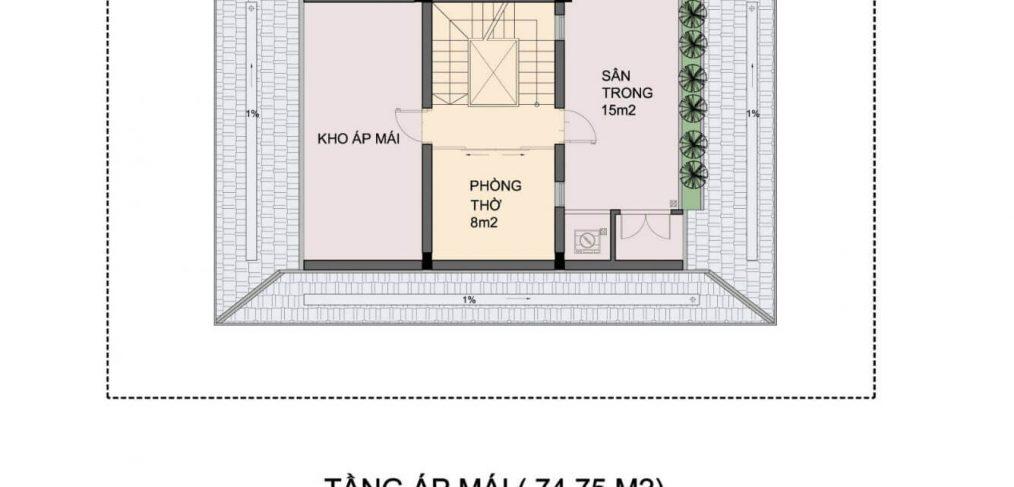 Mặt bằng tầng áp mái Biệt thự An Phú Shop Villa Dương Nội