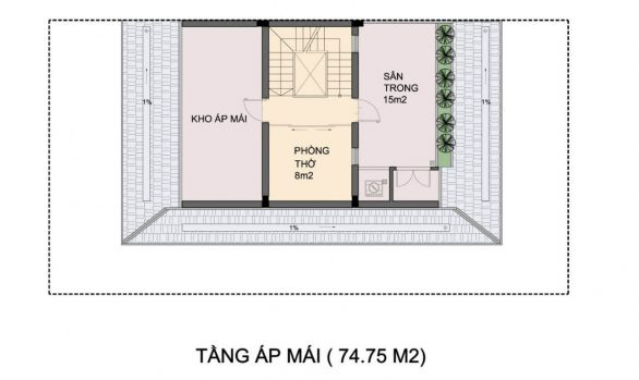 Thiết kế tầng áp mái Biệt thự An Phú Shop Villa