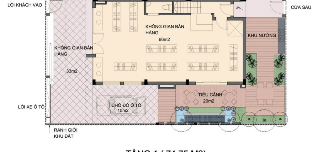 Mặt bằng tầng 1 Biệt thự An Phú Shop Villa Dương Nội