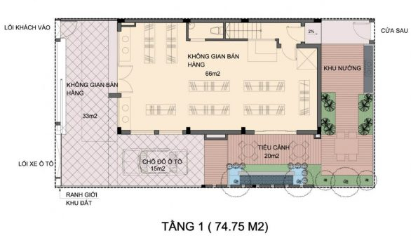 Mặt bằng tầng 1 An Phú Shop Villa